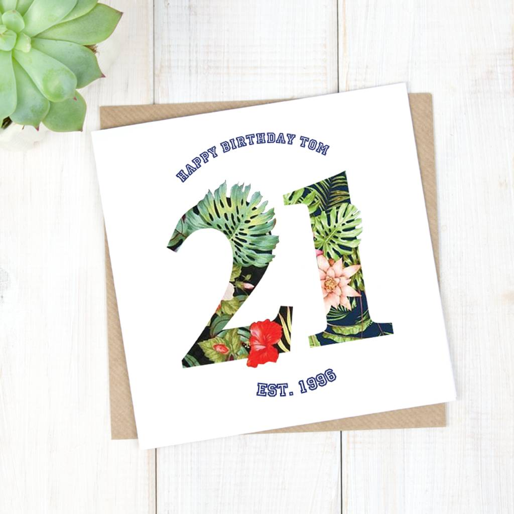 Personalised Hawaiian 21st Birthday Card For Him