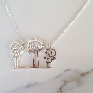 Personalised Child Drawing Family Portrait Necklace