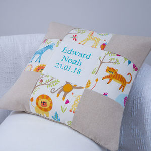 Jungle Name And Date Cushion - living room