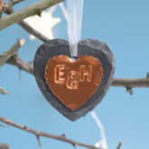 Personalised Couples Copper Tree Decoration - christmas decorations