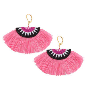 Emboidered Tassel Earrings - statement earrings