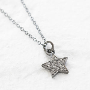 Pave Diamond Silver Star Pendant
