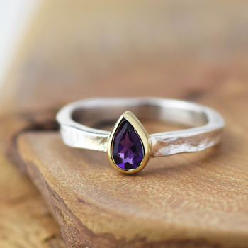 Solid Gold And Silver Amethyst Alice Ring