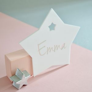 Personalised Monochrome Bedroom Door Sign Star Acrylic - dreamland nursery