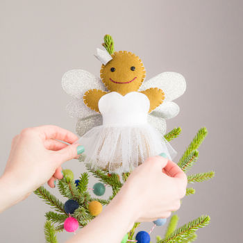 Gingerbread angel Christmas tree topper in silver
