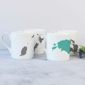 Set Of Four Personalised Map Silhouette Bone China Mugs