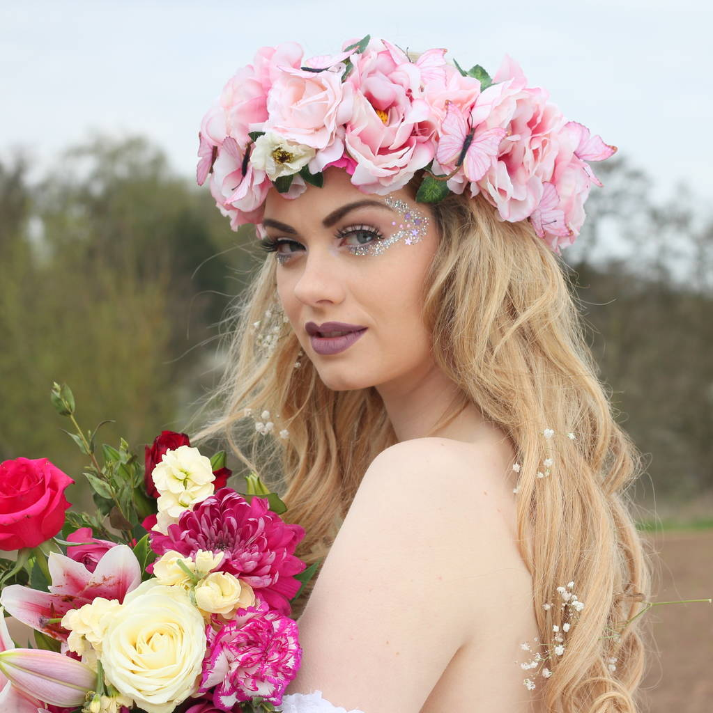 Butterfly and peony flower crown by rouge pony notonthehighstreet butterfly and peony flower crown izmirmasajfo