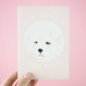 'Sad Doggo Hug Club' Pet Sympathy Card