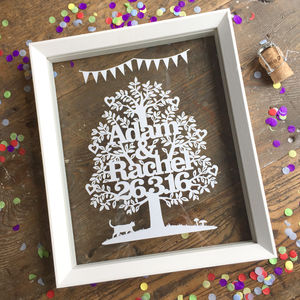 Wedding Or Anniversary Tree Papercut - for her