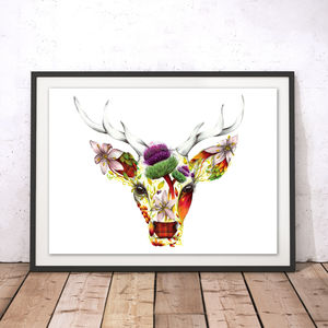 Stirling The Floral Stag Watercolour Fine Art Print