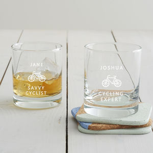 Personalised Cycling Tumbler Glass - drink & barware