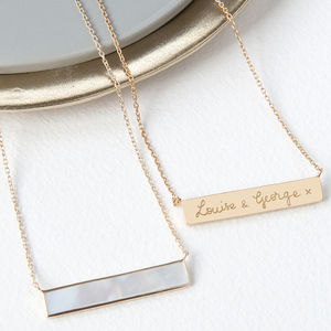 Personalised Gemstone Bar Necklace - the gift of gold