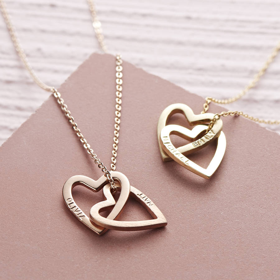 Solid gold interlocking hearts necklace by lisa angel solid gold interlocking hearts necklace aloadofball Image collections