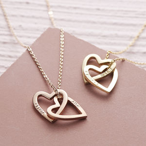 Solid Rose Gold Interlocking Hearts Necklace - more