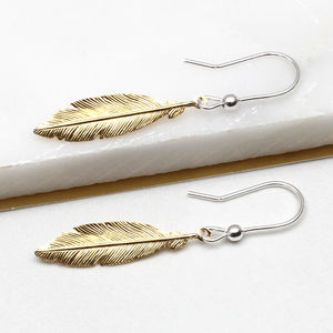 Gold And Sterling Silver Feather Earrings