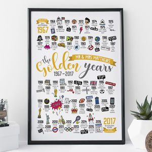 Personalised 50th Golden Wedding Anniversary Print - summer sale