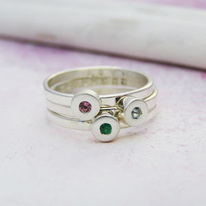 Personalised Birthstone Disc Stacking Rings