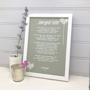Personalised Hearts Anniversary Poem