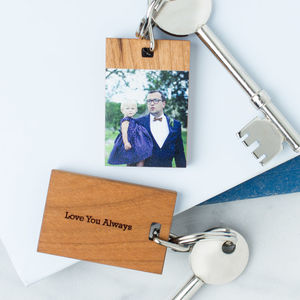 Personalised Wooden Photo Keyring - gifts for mothers