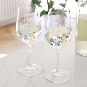 His And Her Wine Glasses - best wedding gifts