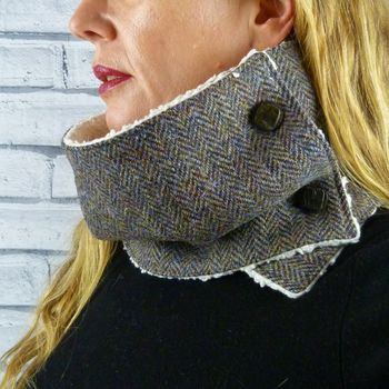 Autumnal Colours Harris Tweed Neckwarmer Scarf
