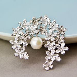 Freshwater Pearl And Crystal Flower Wreath Brooch
