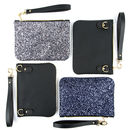 Icons Mini Glitter And Leather Clutch Crossbody Bag