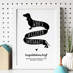 Personalised 'Clever Sausage' Graduation Print - posters & prints