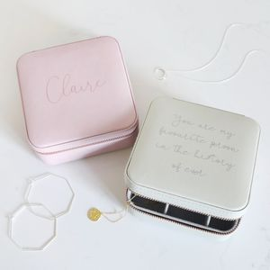 Personalised Square Travel Jewellery Box - storage & organisers