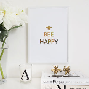 'Bee Happy' Wall Art Foil Print - posters & prints