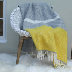 Grey And Mustard Wool Knit Throw - throws, blankets & fabric