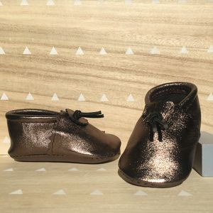 Bronze Leather Baby Booties