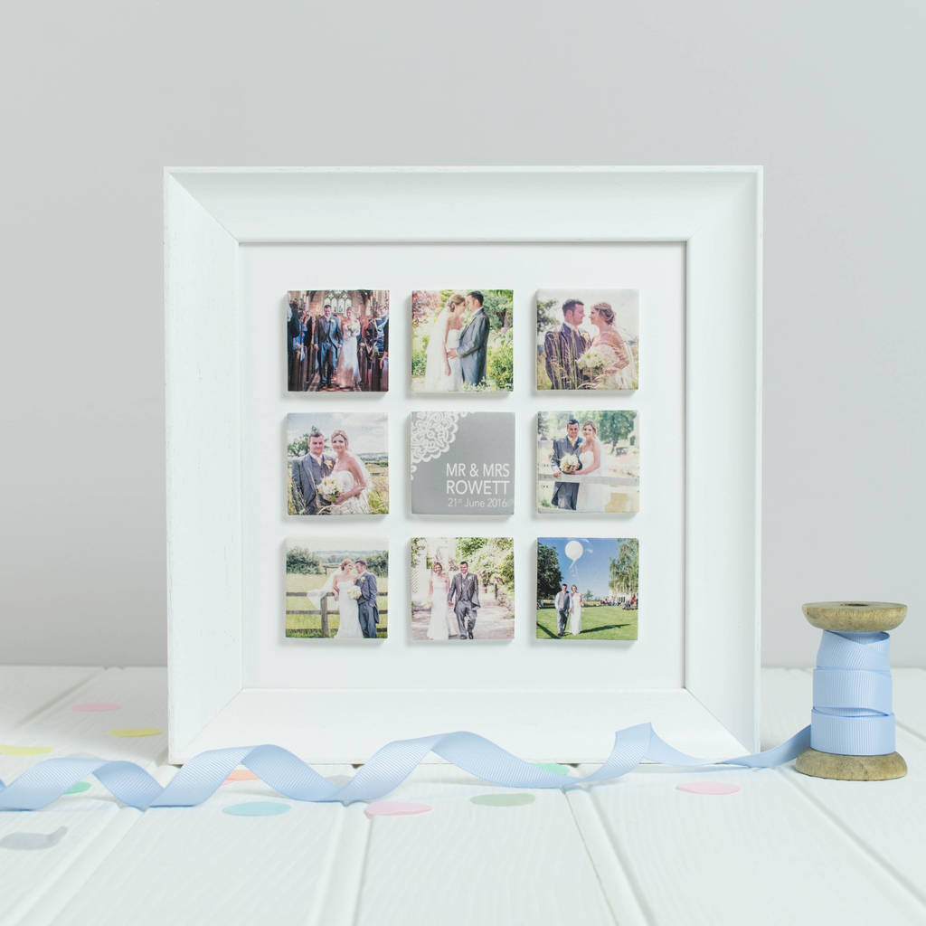 personalised mr and mrs wedding photo clay tile frame - Mr And Mrs Frame