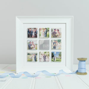 Personalised 'Mr And Mrs' Lace Wedding Photo Tile Frame - mixed media & collage