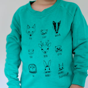 Childrens Organic Animal Faces Sweater