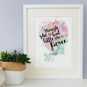 'Little But Fierce' Watercolour Print Best Friend Gift - children's room