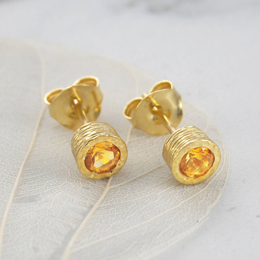 November Round Citrine Birthstone Gold Stud Earrings
