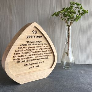 Personalised Oak Birthday Anniversary Award Plaque