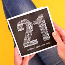 Personalised Name And Date 21st Birthday Card