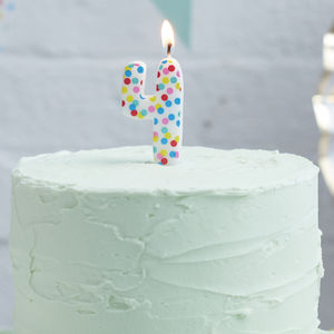 Polka Dot Candle Number Four Birthday Cake Candle