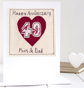 Personalised Ruby Wedding Anniversary Card - anniversary cards
