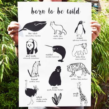 'Born To Be Wild' Illustrated Animal Poster