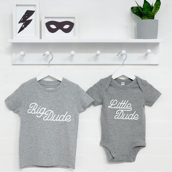 Big Dude Little Dude Brothers T Shirt Set