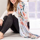 Personalised Soft Blue To Coral Floral Print Scarf