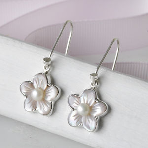 Pale Pink Mother Of Pearl And Shell Earrings