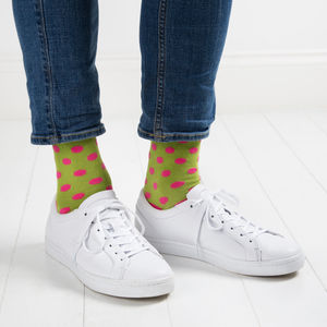 Green Socks With Pink Spots