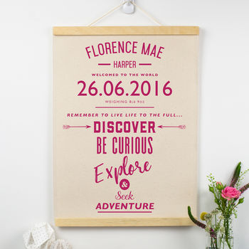 Personalised New Baby Gift Adventure Wall Hanging