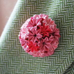 Pink Dome Origami Brooch - children's accessories