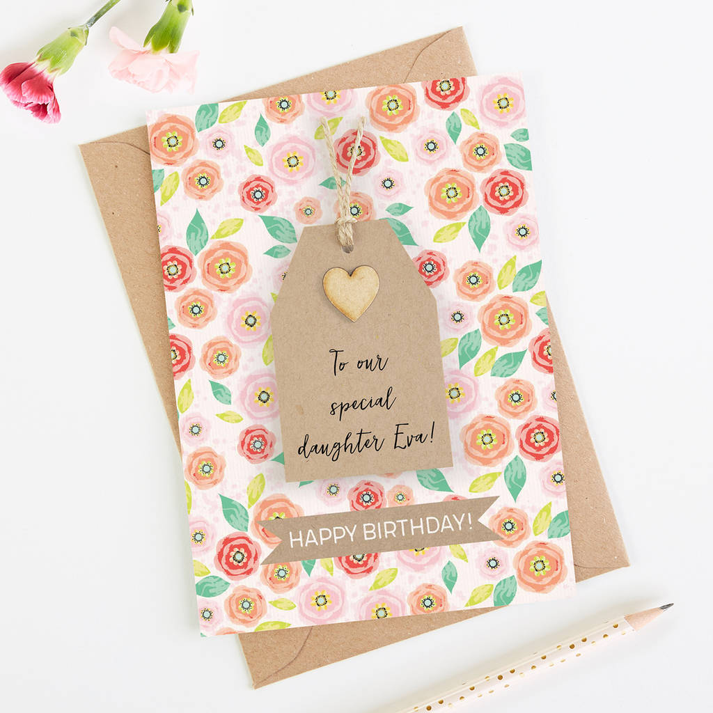 Daughter Birthday Card Floral Tag
