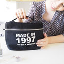 Personalised Birthday Year Canvas Large Make Up Bag